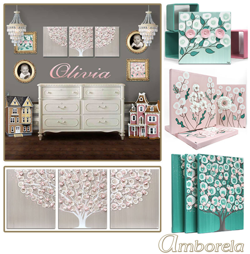 Collection of French gray, pink, and teal nursery art