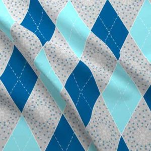 Argyle fabric in gray, blue, and aqua