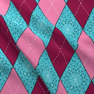 Argyle fabric in pink and aqua