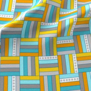 Basketweave fabric in gray, yellow, aqua