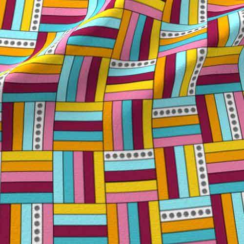 Basketweave fabric in pink, yellow, aqua