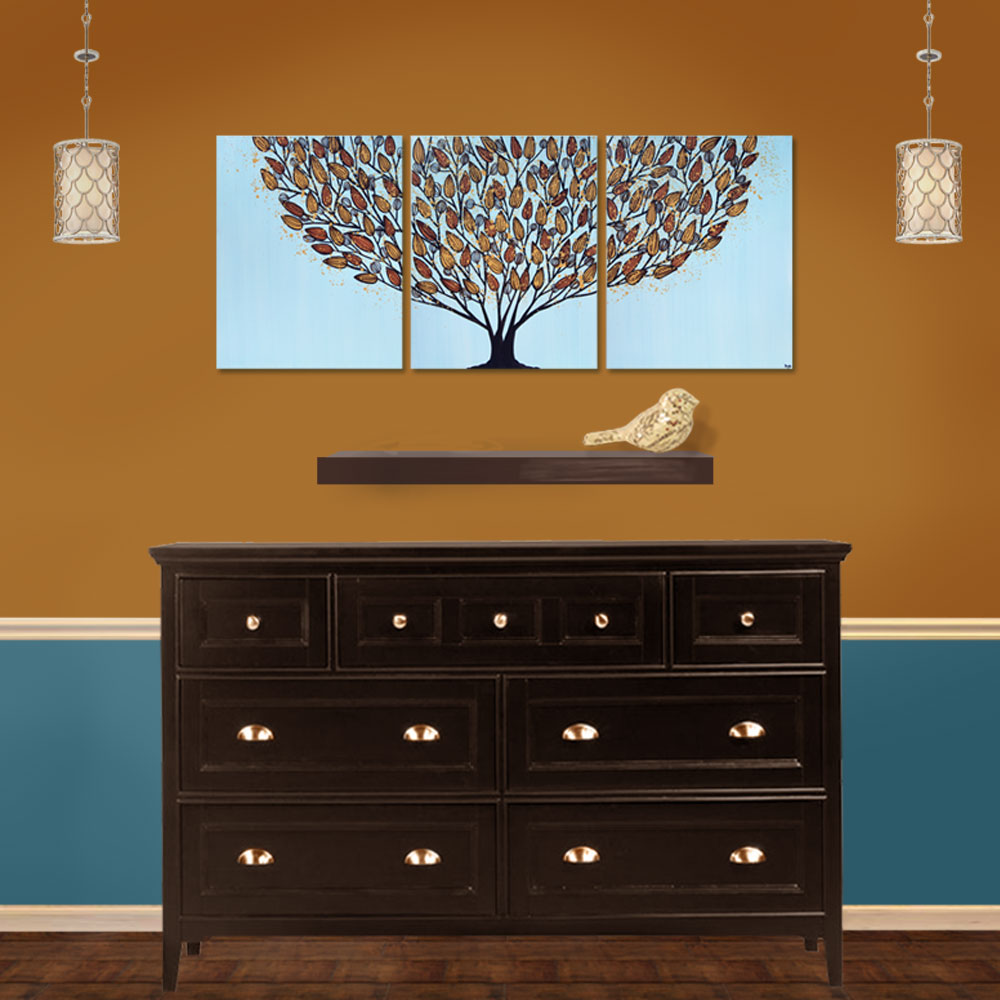 Setting for triptych wall art tree in blue and orange