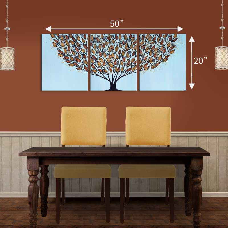 Size guide for triptych wall art tree in blue and orange