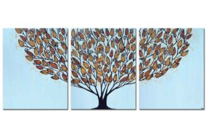 Triptych wall art tree in blue and orange