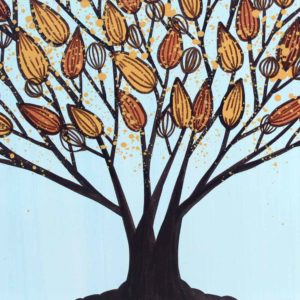 Tree Painting, Wall Art in Blue, Orange | Large – Extra Large