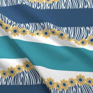 Fabric border prints of flower fringe in blue and teal
