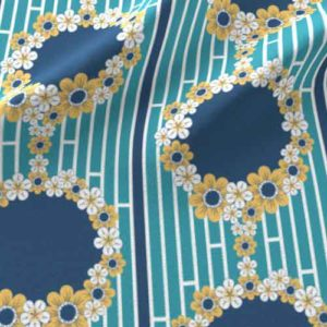 Fabric borders with cameo inset of blue, yellow, teal