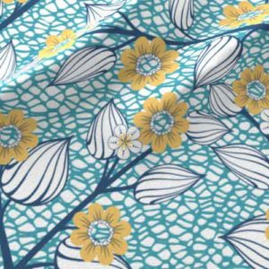 Flower and netting fabric in yellow,blue, and teal