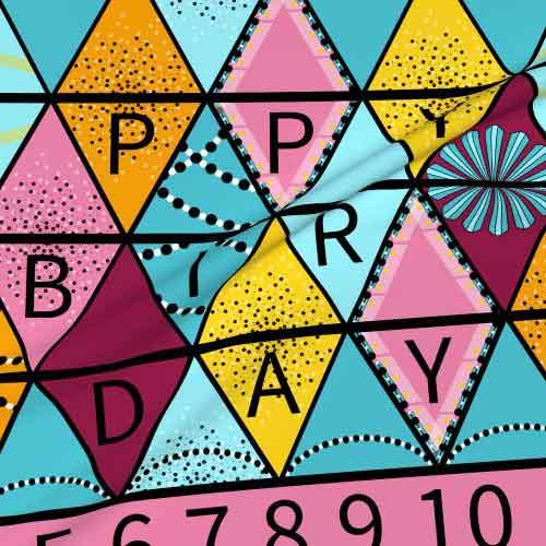 Fabric happy birthday bunting project in aqua, yellow, pink