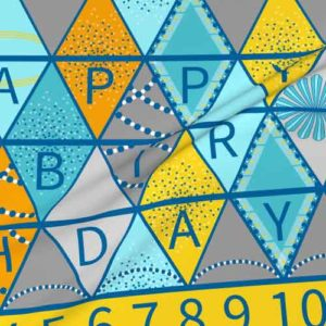 Fabric happy birthday bunting project in aqua, yellow, gray
