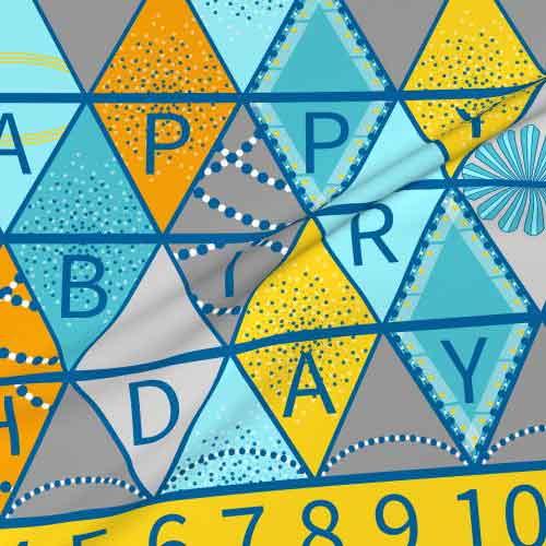 Fabric happy birthday bunting project in aqua, yellow, gray