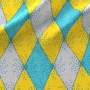 Harlequin fabric in aqua and yellow