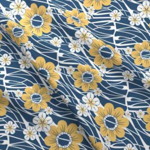 Hawaiian flower fabric in blue and yellow
