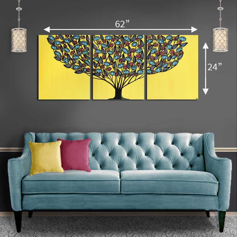 Size guide for extra large yellow and aqua flower tree painting
