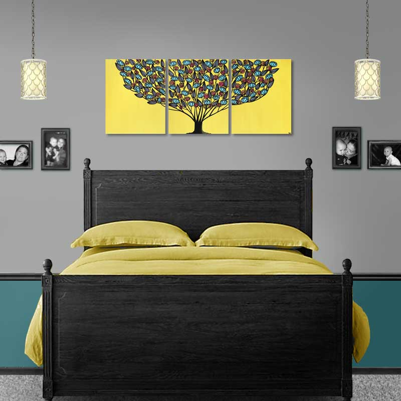 Setting for yellow and aqua tree wall art
