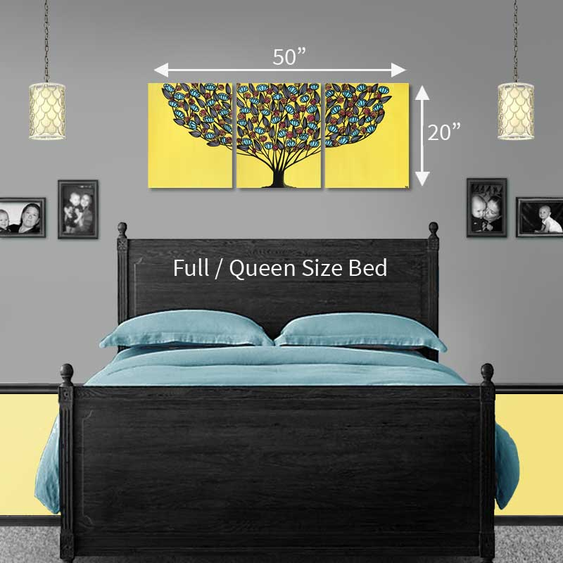 Size guide for yellow and aqua tree wall art