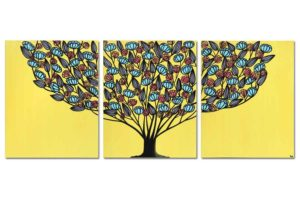 Yellow and aqua tree wall art