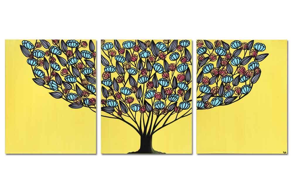 Yellow and aqua tree wall art