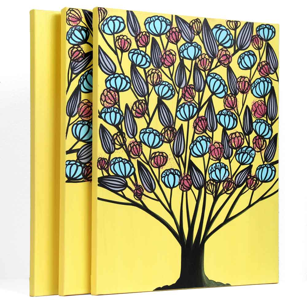Triptych Canvas Art, Tree Painting in Yellow, Aqua - Large | Amborela