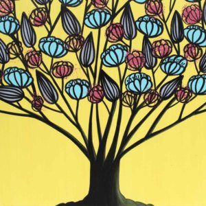 Triptych Canvas Art, Tree Painting in Yellow, Aqua | Large – Extra Large