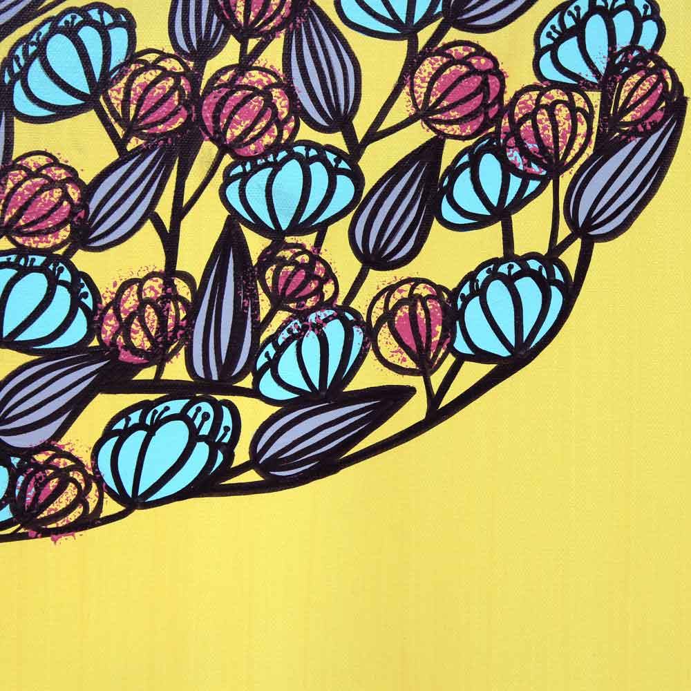 Details on yellow and aqua tree wall art