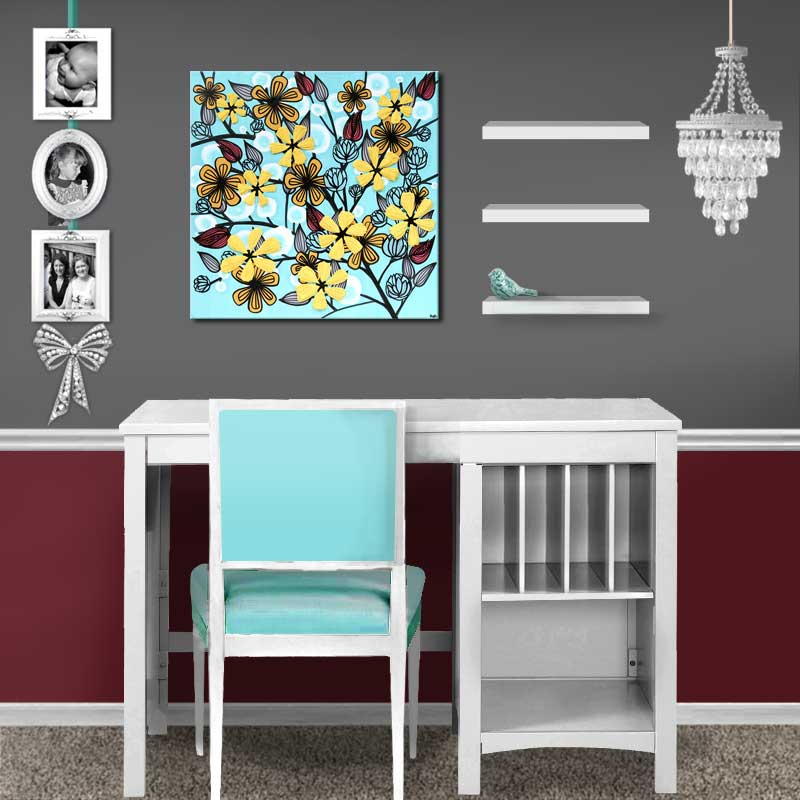 Setting for canvas art flowers in aqua and yellow