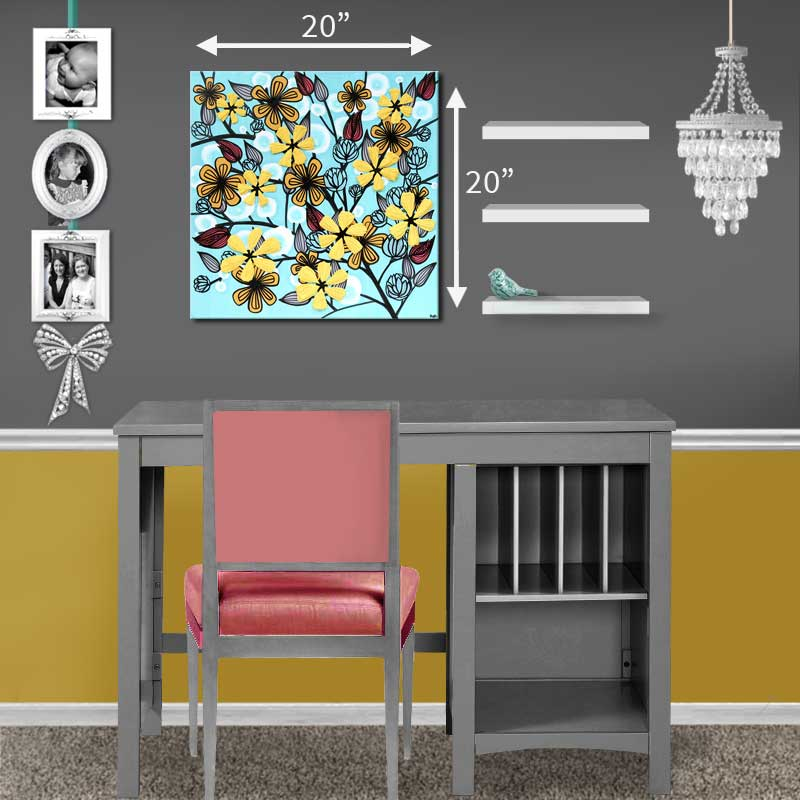 Size guide for canvas art flowers in aqua and yellow