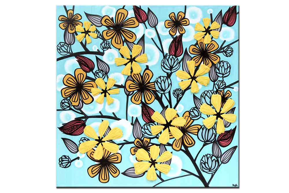 Canvas art flowers in aqua and yellow