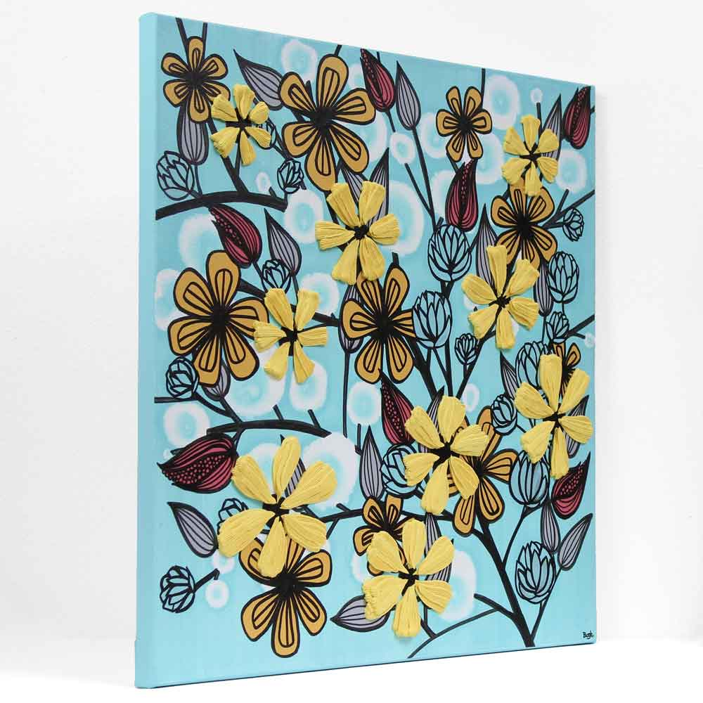 Side view of canvas art flowers in aqua and yellow