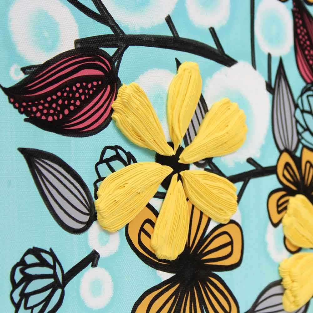 Details on canvas art flowers in aqua and yellow