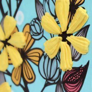 Textured 3D Flower Wall Art in Aqua, Yellow, Black | 20×20