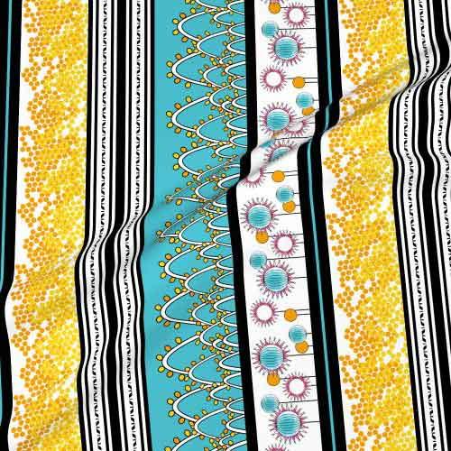 Fabric border prints in yellow and aqua