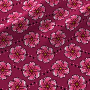 Fabric flower print in pink watercolors