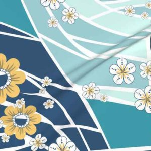 Wholecloth quilt fabric in blue, teal, yellow