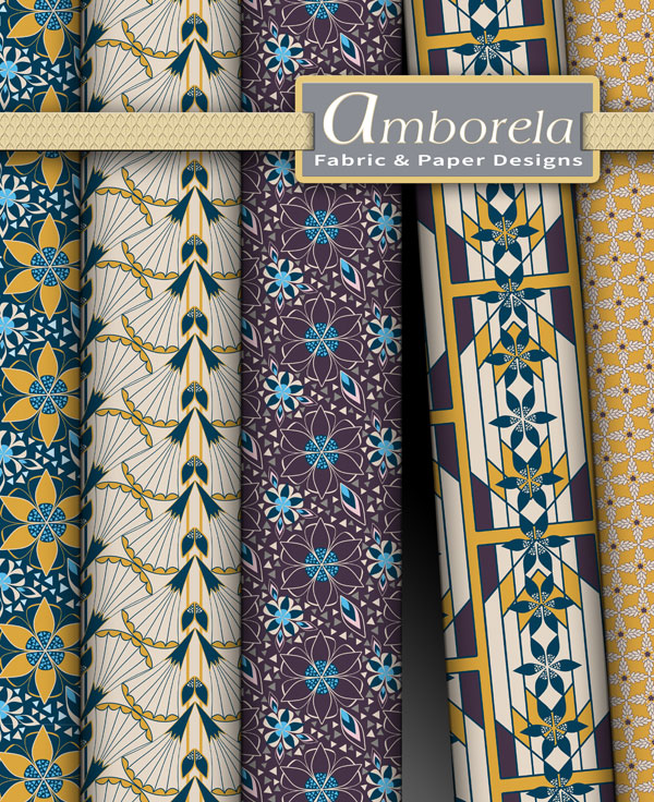 Fabric selection from Amborela's art deco blue and yellow collection