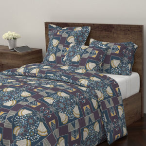 Fabric & Wallpaper: Large Art Deco Floral in Plum, Yellow, Blue