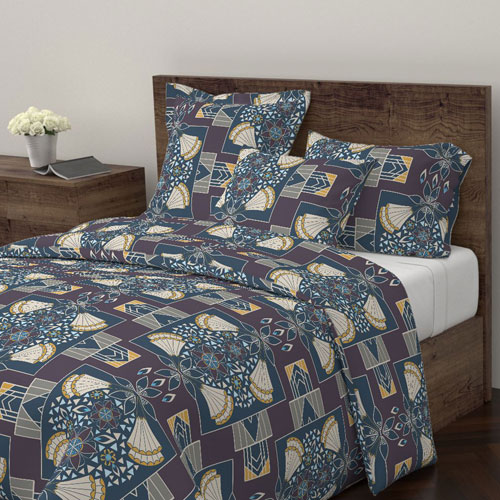 Art deco style duvet in plum, golden yellow, and blue