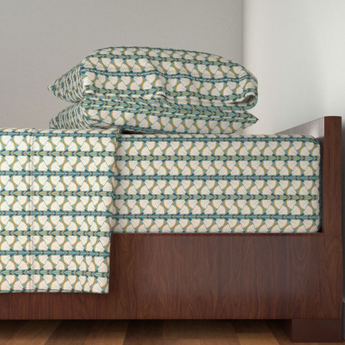 bed sheets in teal art deco style trumpet flowers