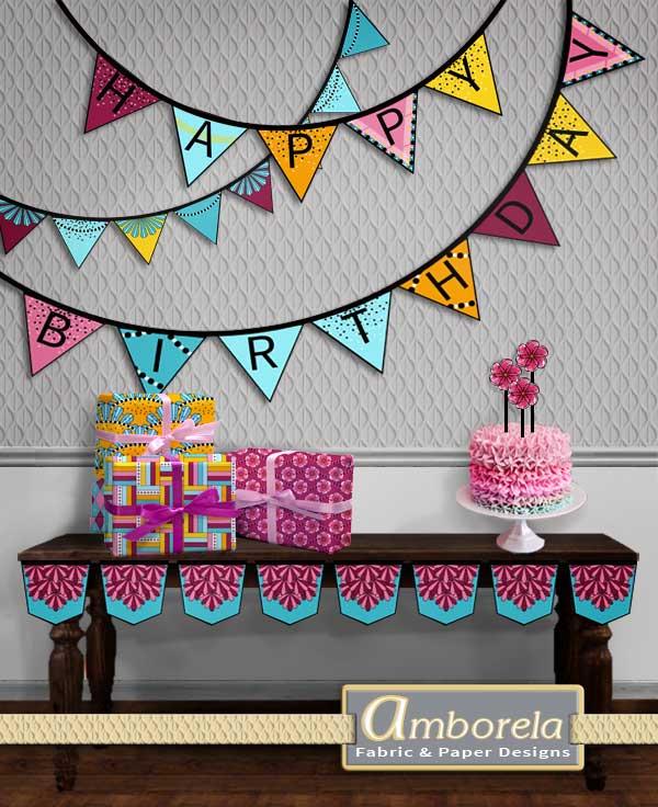Girls birthday bunting projects in pink, aqua, black, yellow