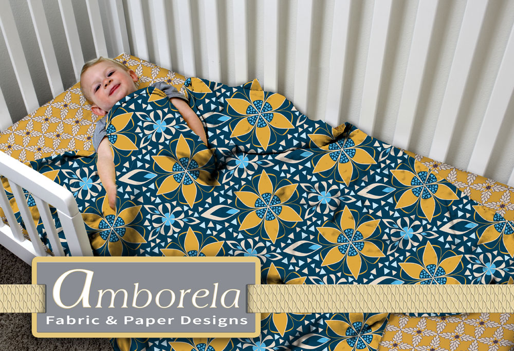 Blue and yellow star baby blanket on golden yellow crib sheet