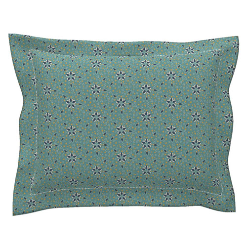 teal art deco star mosaic pillow