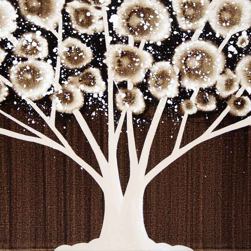 Center view of canvas wall art of brown tree