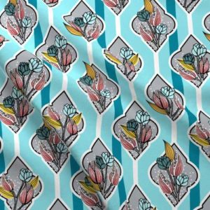 Flower bouquet fabric in aqua and pink