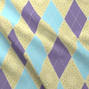 Argyle fabric in purple, yellow, and aqua