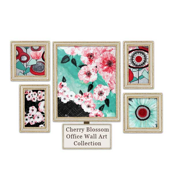 Office wall art collection in black, white, red, and teal with cherry blossoms