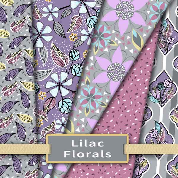 Lilac and gray floral fabric collection