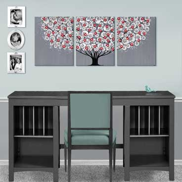 Large office wall art tree in Feather Gray and Red