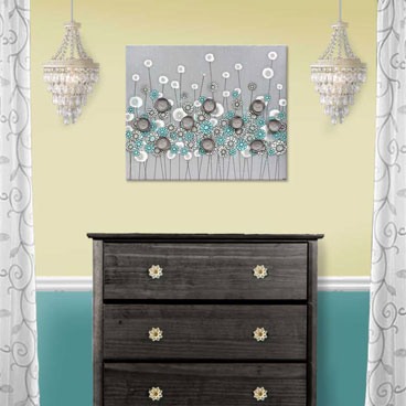 Gray and aqua flower painting