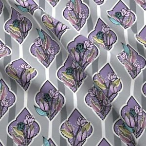 Fabric with floral bouquets in gray and lilac purple