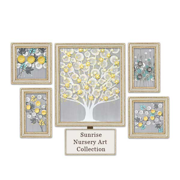 Gray, aqua, and yellow nursery art collection